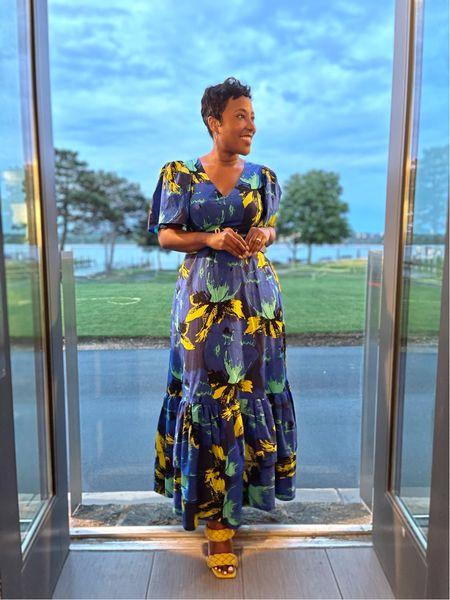 Blue floral maxi dress yellow double strap sandals #christopherjohnrogers #targetstyle #competition  #LTKSeasonal #LTKstyletip #LTKunder100