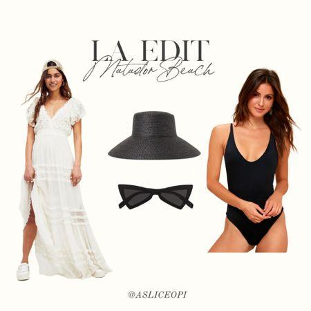📷 LA EDIT- White maxi ruffle Free People dress, Black woven hat, black cat eye sunglasses, black one piece! http://liketk.it/3mwOC #liketkit @liketoknow.it