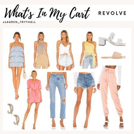 Current Revolve Wishlist! So many cute summer outfit options. I love that blue dress!  (Summer outfits, tank tops, denim, sandals, wedges, dress, rompers, wedding guest dress)  #LTKSeasonal #LTKstyletip #LTKshoecrush