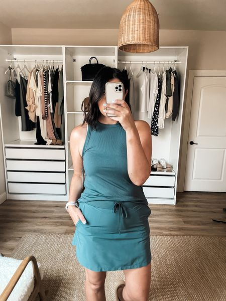 Nordstrom try on!   I am in the medium of the tank. TTS. I am in the medium of the skirt — this one fits wayyyy better than the Spanx one!! Other colors available too!