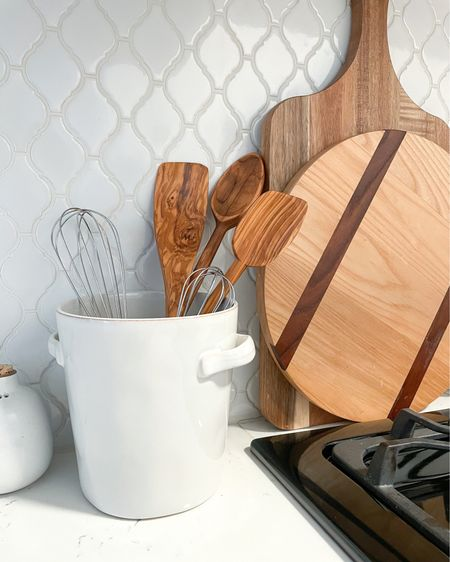 My favorite olive wood utensils from France, and the cute new utensil holder I got! Plus some of my other kitchen items that I've had for years. Dont forget mineral oil to keep your wood utensils and cutting boards hydrated and protected!   http://liketk.it/3dAZk  #liketkit @liketoknow.it