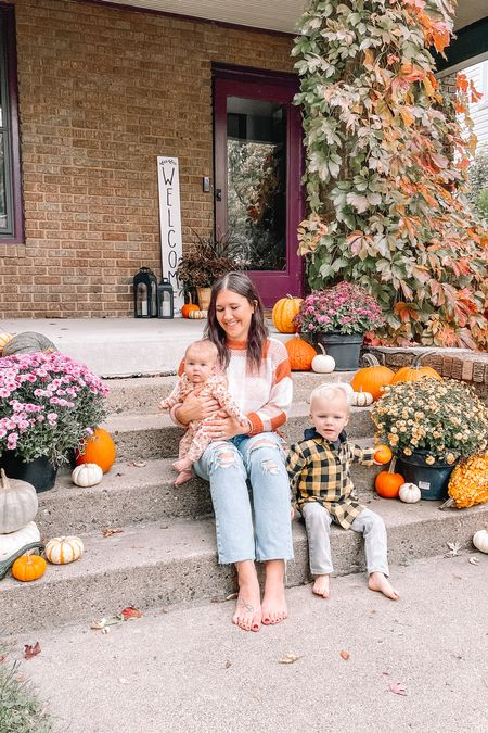 Fall front porch decor, fall decor Target style sweater Old navy style, baby girl outfits Fall family photos Toddler flannel shirt m, toddler boy clothes  #LTKfamily #LTKbaby #LTKSeasonal