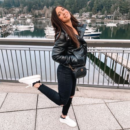 Casual outfit for brunch! Abercrombie faux leather puffer jacket. Skinny destressed jeans. White sneakers. Valentine's Day.  http://liketk.it/36efh #liketkit #LTKunder50 #LTKshoecrush #LTKunder100 @liketoknow.it