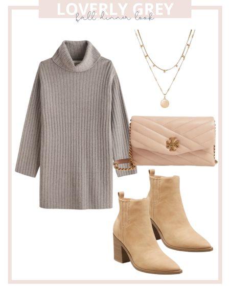 Loverly grey fall dinner look featuring this sweater dress form Abercrombie!   #LTKunder100 #LTKunder50 #LTKstyletip