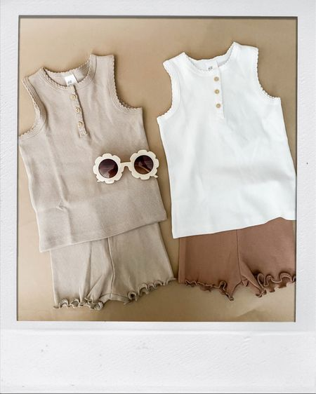 Too cute not to share! Part of an upcoming baby shower gift. I cannot deal with these cute little neutrals! 😍 Everything is $20 and under - tanks and shorts come in a 2-pack. http://liketk.it/3ify5 #liketkit @liketoknow.it #affliliate #babygirl #babyclothes
