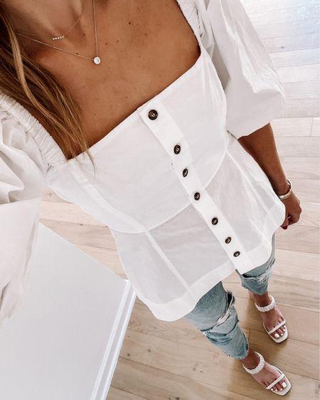 White puff sleeve summer top (tts) #summeroutfit http://liketk.it/3ihfS #liketkit @liketoknow.it #LTKstyletip #LTKunder100 #LTKsalealert