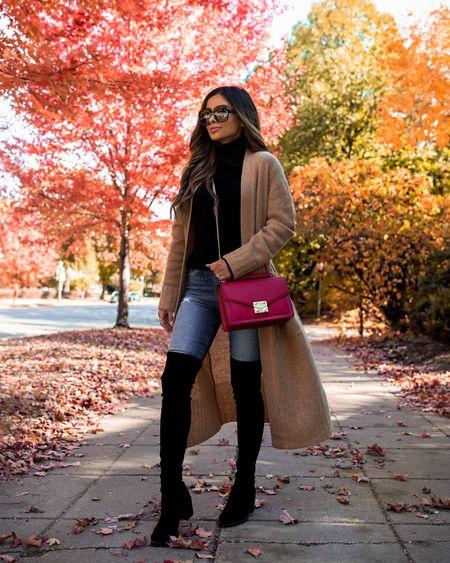Fall casual outfit ideas  Camel cardigan wearing an XS Joe's jeans  Stuart Weitzman over the knee boots Red bag Gucci sunglasses   #LTKshoecrush #LTKsalealert #LTKstyletip
