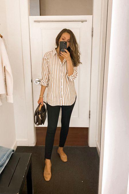 Tuesday outfit. Oversized shirt in xs, jeans tts, flats tts for me    #LTKshoecrush #LTKsalealert #LTKstyletip
