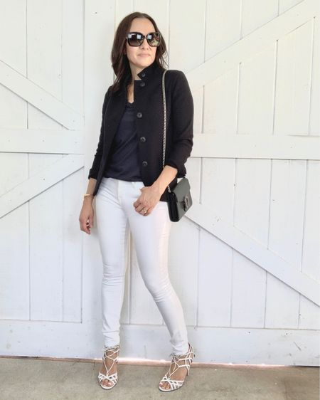 Navy and white combo for the win.  My navy knit blazer is on sale.  If between sizes, size down.  I'm wearing the XS.  My white skinny jeans are my favorite and run TTS.  My navy tee is on major sale.  http://liketk.it/3gMB9 #liketkit @liketoknow.it #LTKsalealert #LTKitbag #LTKworkwear Shop your screenshot of this pic with the LIKEtoKNOW.it shopping app