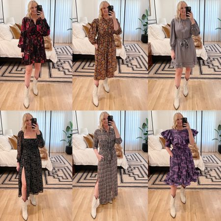 All of the fall dresses from my reels video and Instagram story try-on! Wearing a medium or 8 in everything! Boots are old Isabel Marant! #fallfashion #fallstyle #falldresses #dresses #tryon #reels    #LTKstyletip