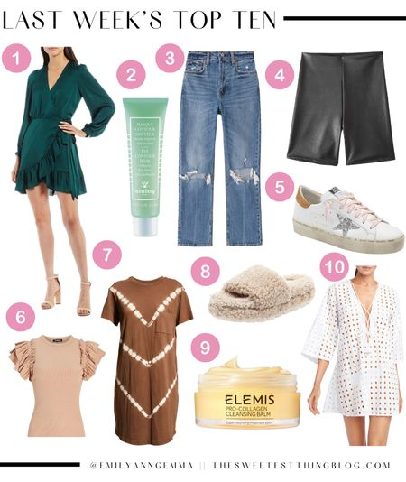 Last weeks top sellers, best selling products, Emily Gemma best sellers, fall wedding guest dress, green wrap dress, best skincare, golden goose, faux leather biker shorts, t-shirt dress, swim cover up, house slippers, house shoes, ruffle sleeve top, fall outfits, http://liketk.it/3nnrH    #LTKstyletip