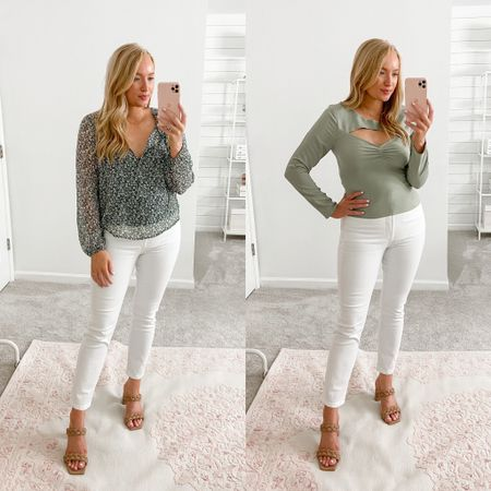 White jeans styled for fall  #LTKSale
