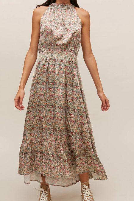 Floral tiered halter dress   #LTKstyletip #LTKSeasonal #LTKHoliday