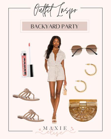 Summer Outfit Inspo For A Backyard Party ☀️  #summeroutfitinspo #summeroutfits #revolve #romper #rompersummer #revolveclothing #summerfashion #neutraloutfit  #LTKstyletip #LTKunder100 #LTKSeasonal