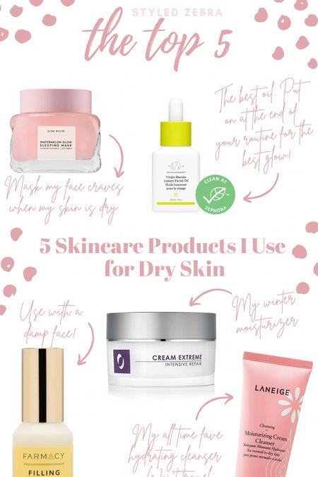 The top 5 skincare products I use for dry skin