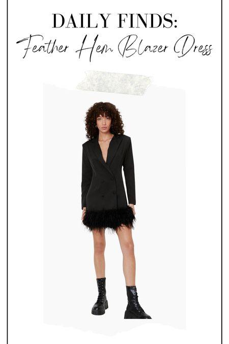 Feather hem blazer dress, holiday party dress, holiday dress, blazer dress   #LTKstyletip #LTKHoliday #LTKunder100