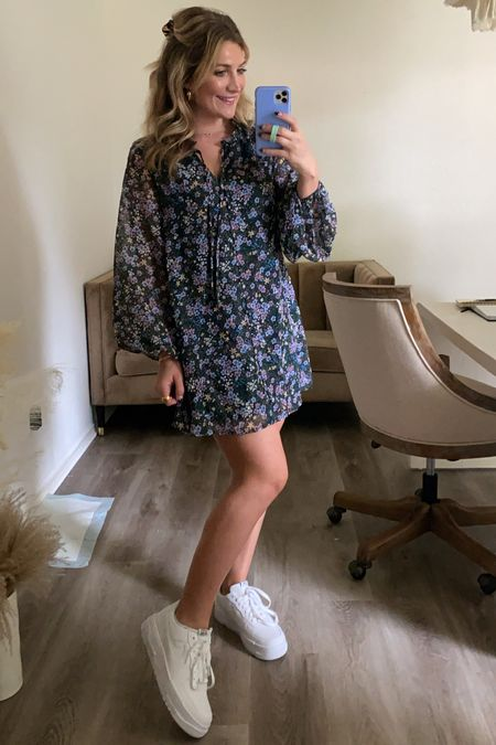 outfit of the day! love this adorable floral dress from buddy love! code AUDREYMADSTOWE should get you 15% off!   New white sneakers too and I love the chunky platform   #LTKshoecrush #LTKstyletip