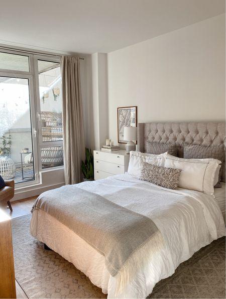 Neutral grey bedroom - wayfair tufted grey headboard and west elm side tables   #LTKhome