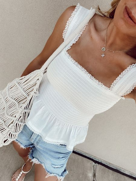 white tank top, jean shorts, summer outfit   #LTKstyletip http://liketk.it/3hn42 #liketkit @liketoknow.it