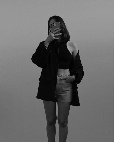 Memorial Day outfit idea / black crop top, pink denim shorts and shacket. #memorialday #summeroutfit  #LTKSeasonal #LTKeurope #LTKstyletip