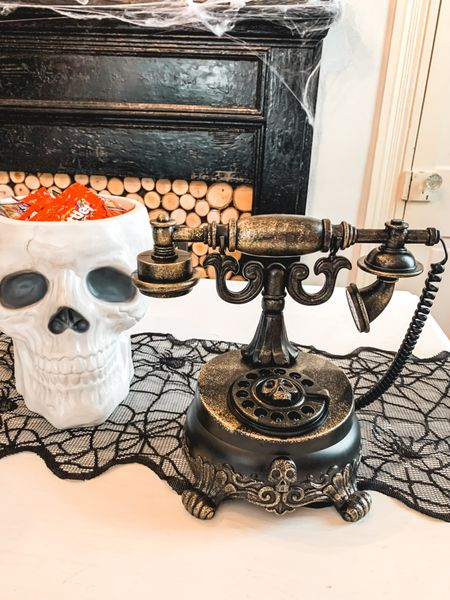 Halloween decor Target finds candy bowl skull haunted Victorian phone