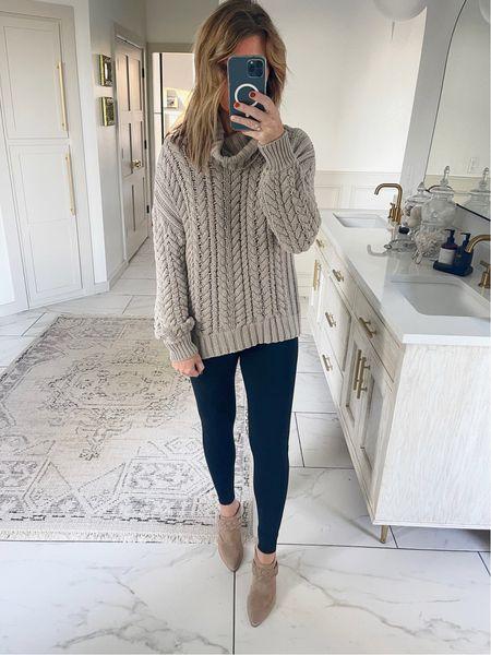 Medium sweater and leggings/ my true size in mules   #LTKstyletip