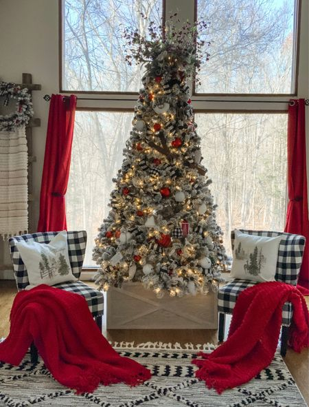 Red white and buffalo check! My favorite Christmas decor 🌲❤️  #LTKstyletip #LTKhome
