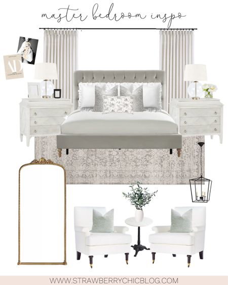 Our master bedroom white nightstands finally restocked! They have 4 drawers (the top is an electronic drawer which I love because it keeps clutter off the top).   Neutral bedroom decor // tufted bed // king bed // gray bedroom inspiration // http://liketk.it/3hhSe #liketkit @liketoknow.it #LTKhome