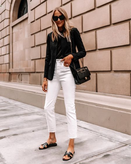 The classic black blazer outfit is perfect for workwear, Business casual looks, teacher outfits, and more! Love it paired with white jeans going into fall #falloutfits #whitejeans   #LTKunder100 #LTKworkwear #LTKstyletip