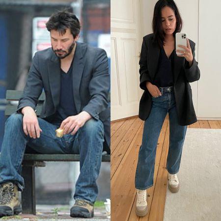 #sadkeanu but make it fashion. oversized blazer, navy v-neck, blue jeans and hiking boots  #LTKeurope #LTKstyletip