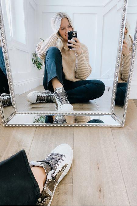 P448 high top sneakers part of the Nordstrom Anniversary sale! Fit true to size.   Mother denim crop flare jeans - so flattering and comfortable!   Chunky knit sweater - runs large size down!   Fall look, fall outfit, sneakers, Italian sneakers, designer sneakers, fall shoes, mom look.