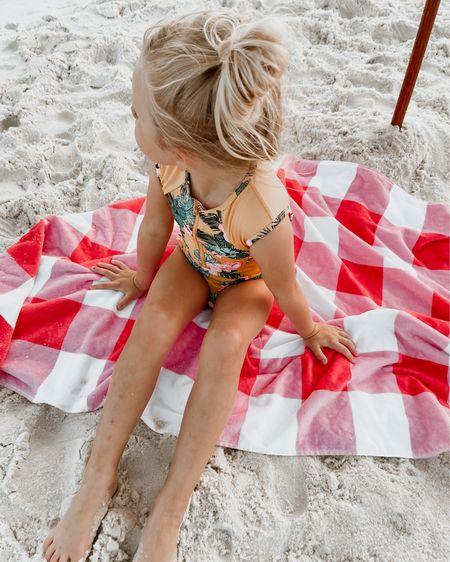 Adorable beach items, towel, umbrella , swimsuit http://liketk.it/3gJkp @liketoknow.it #liketkit #LTKfamily #LTKswim #LTKtravel