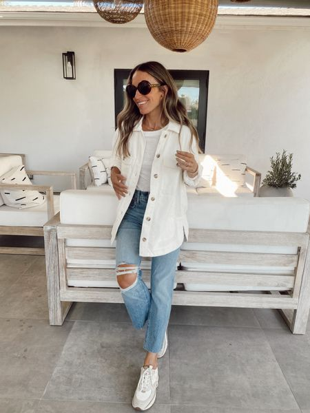 Ivory shirt jacket (size down)  Tissue long sleeve top  Vintage straight leg jeans with slight stretch  Trainer sneakers  Currently 20-25% off   #LTKunder100 #LTKstyletip #LTKsalealert
