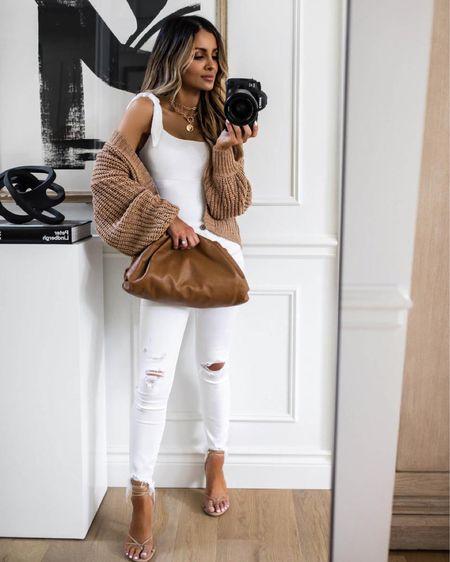Summer outfit ideas  Abercrombie white denim Abercrombie cardigan  Tie strap bodysuit Express heels The Styled Collection gold necklaces    #LTKunder50 #LTKstyletip #LTKunder100