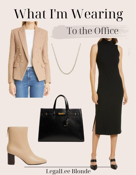 Fall wear to work outfit! This black midi dress is the most versatile piece for fall! Love it paired with a camel blazer for work.   #LTKworkwear #LTKunder100 #LTKstyletip