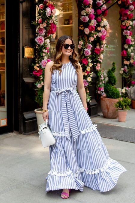 Striped dresses, fall dresses, maxi dress, blue dresses, wedding guest outfit   #LTKstyletip #LTKworkwear #LTKsalealert
