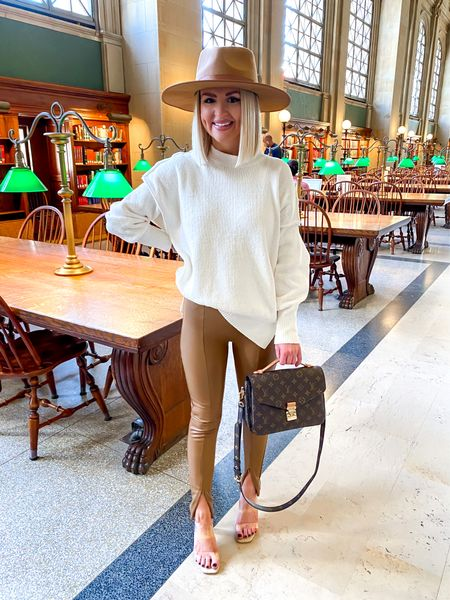 Fall fashion, thanksgiving day outfit, tan leather leggings, ankle zip leather leggings, Abercrombie style! Sweater: XS, Leggings: XS   #LTKunder100 #LTKHoliday #LTKSeasonal