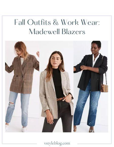 Fall outfits, Work wear, Teacher outfits, Fall family photos, Blazers, Plaid blazer, Black blazer, LTK Day Sale  Madewell  Dorset Blazer in Coster Plaid ($168) Dorset Blazer in Albermarle Plaid ($168) Caldwell Double-Breasted Blazer ($158)  #LTKworkwear #LTKSeasonal #LTKSale