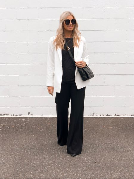 White blazer styled with all black. I love the fit and feel of this Amazon fashion blazer. I also really recommend investing in these pants. They are gorgeous and make me feel like a million bucks. The perfect closet staple. Tts on everything except the booties. I always size up in pointed toed shoes. Fall outfit.   #LTKstyletip #LTKshoecrush #LTKunder50