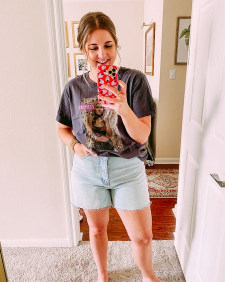 High rise mom jeans with good length and room for curvy girl things. Wearing one size up  #LTKSeasonal #LTKunder100