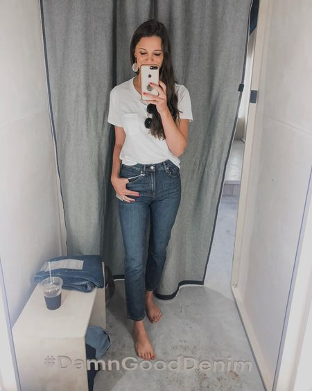 Stopped into Everlane's new pop up denim bar today and tried on ALLL the jeans to show you guys! Head over to Instagram stories to see! I'm linking my faves here! They're all TTS-but in the skinnies, you may want to size up if you're on the fence or don't like your jeans tight! LOVED every pair! (Pictured here: cheeky jeans in mid wash!) http://liketk.it/2xevD #liketkit @liketoknow.it