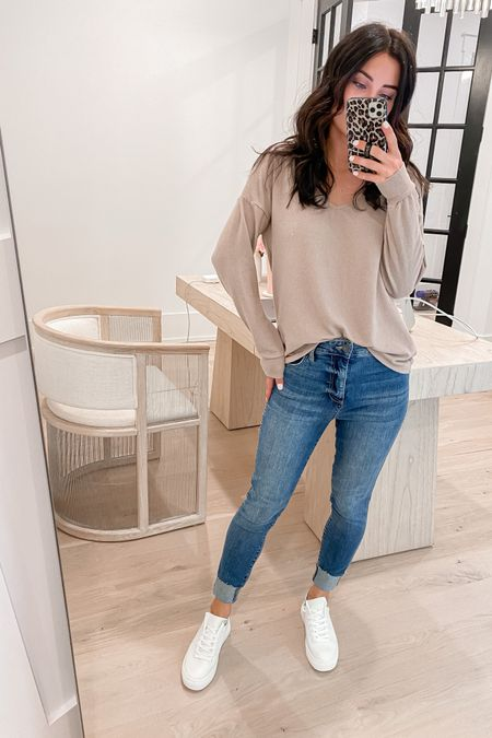 http://liketk.it/3jQBs #liketkit @liketoknow.it  white sneakers (tts. Size up half of btwn sizes). Lightweight sweater (s) jeans (tts but stretch out with wear)