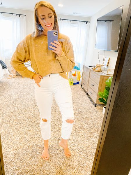 I'm a sucker for neutrals and guilty of breaking the no white in winter rule 🤷♀️ fall fashion should be fun so why not wear a neutral sweater and distressed white denim!   #LTKFall #LTKunder50 #LTKstyletip