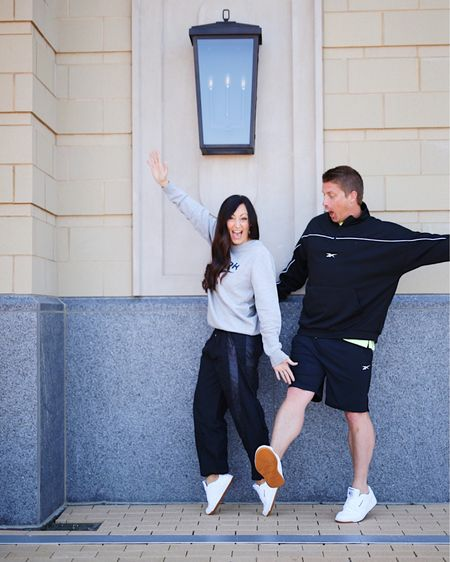 Having a fun matching moment with the hubs! 🥰 But for real, this look with @reebok + @dsw was so fun to shoot, mostly because @bryandiff had no idea how to stay up on his toes so it was so fun to watch him try! {#ad} 👟  We are both wearing a super comfy, neutral white Reebok shoe called the Club Memt Sneaker and we both absolutely LOVE the comfort level + the easy neutral look for styling with any outfit. Not only would these make a great Father's Day gift for all the Dads out there but DSW also has loads of other awesome shoes for great affordable prices that would make the perfect gift! Our full Reebok looks are linked up here with @liketoknow.it & head to my stories for up close details of the sneakers! #myDSW #liketkit http://liketk.it/3hoYD