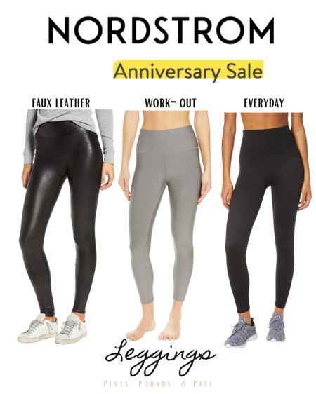 #nsale legging essentials from The Nordstrom Anniversary Sale! The Spanx faux leather leggings are one of the hottest items in the sale, so grab them early!   #LTKsalealert #LTKstyletip #LTKfit