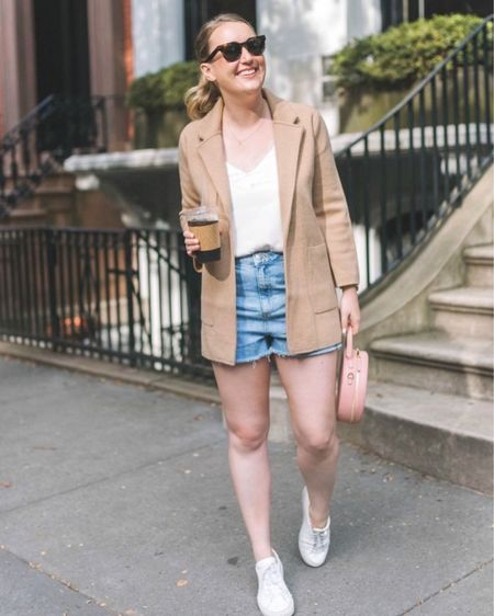 The famous J.Crew Sophie sweater blazer is on sale! Wearing size Small.   Worn with denim shorts, a silk cami with lace trim and my favorite white sneakers   #LTKsalealert #LTKunder100