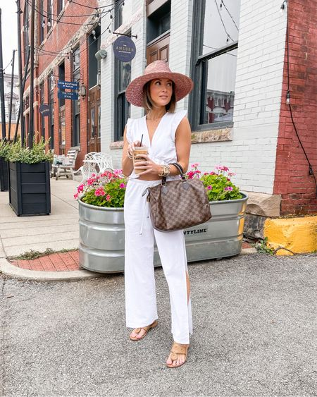brixton pink straw hat (small) white amazon two-piece (xs, tts) jack rogers sandals (tts)   #LTKstyletip #LTKunder50 #LTKitbag