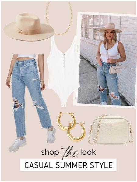 Casual summer style. M in Abercrombie bodysuit, 27 in Agolde jeans (*size down!). Bag is Zara, linked similar! • http://liketk.it/3haRJ @liketoknow.it #liketkit