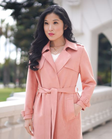 Are you looking for a pink trench coat for a Valentine's Date? Look chic is this faux suede trench coat. This pink duster drapes nicely with pockets and a tie belt. Pair with your favorite heart necklace for a sweet look! #liketkit http://liketk.it/37l0k @liketoknow.it #pinktrenchcoat #pinkduster #trenchcoat  Shop my daily looks by following me on the LIKEtoKNOW.it shopping app #LTKVDay
