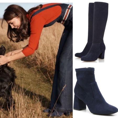 Kate in Dune navy suede boots #shoes #blockheel #navy #suedeboots #dsw